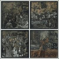 Der Alptraum I-IV – Collage, Farbe, Tusche, 2004