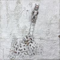 Der geschundene Mensch – Puppe, Fallschirmstoff, Karton, Farbe, 1999
