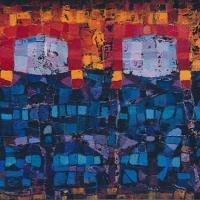 Zwei Kassenhäuschen, Acryl auf Leinwand, 50 x 70 cm, 1989