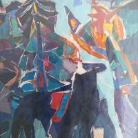 Pferd am Wasserfall – Collage, Mischtechnik, 70 x 90 cm, 2003