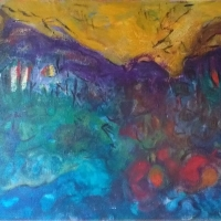 Landschaft – Acryl auf Leinwand, 90 x 110 cm, 2005