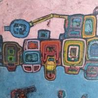 Im Hafen – Acryl auf Holz, 90 x 110 cm, 1989
