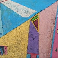 Skulpturengarten – Acryl, Tusche auf Holz, 90 x 135 cm, 1989