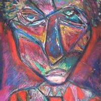 Clown – Ölpastell auf Karton, 30 x 40 cm, 2004